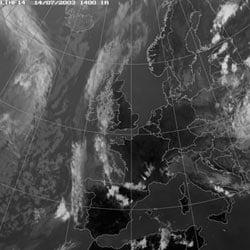 Fig 18: Infrared satellite image, 14 Jul 2003, 1400 GMT