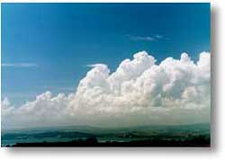 Cumulus clouds over land