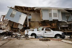 House and car destroyed by the hurricane