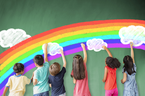 kids drawing cloud and a rainbow