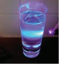UV light shone through a glass