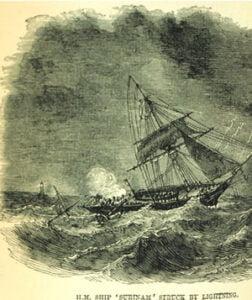 old illustration of ship lightening