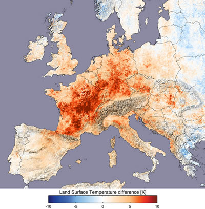 map showing land surface temperature