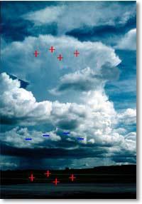 Positive and negative charges in a cumulonimbus cloud © N. Elkins