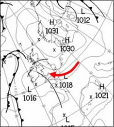 Fig 2. Weather Chart for midday on 5 August 2003.