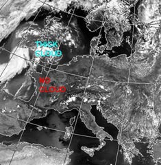 Fig 4. Satellite Image for north-west Europe at 2 p.m. on 5 August.