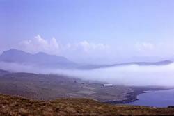 coastal fog and cumulus clouds